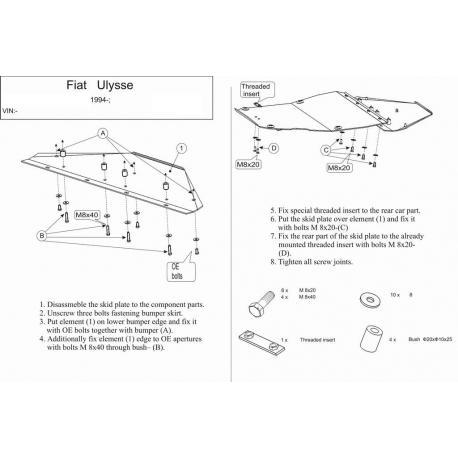 Fiat Ulysse Kryt pod motor a převodovku 1.8,1.9JTD,2.0,2.1TD - Plech