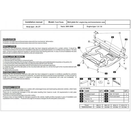Ford Fiesta V Kryt pod motor a převodovku 1.3, 1.4, 1.6, 2.0 - Plech