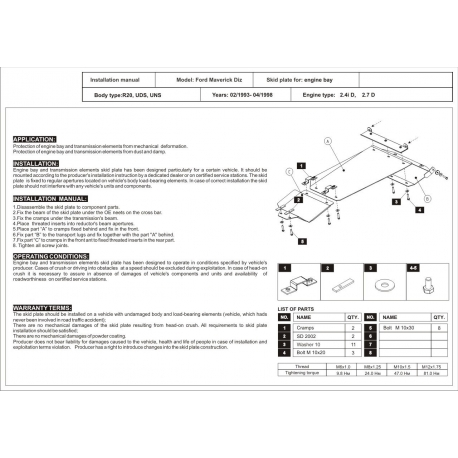 Ford Maverick (cover under the engine and gearbox) 2.4, 2.7 D - Metal sheet