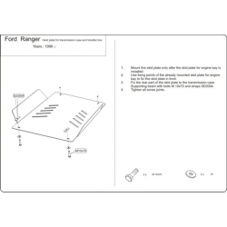 Ford Ranger (cover under the gearbox) 2.3, 2.5 D, 2.5 TD (4x4) - Aluminium