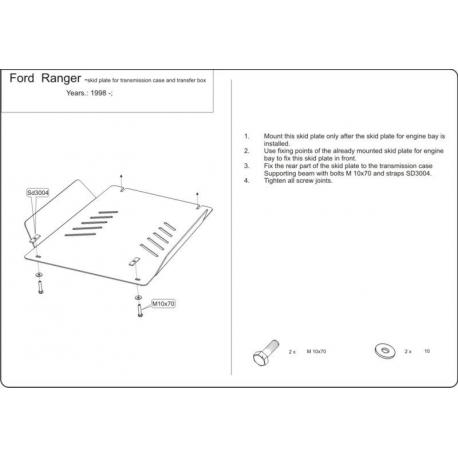 Ford Ranger kryt pod převodovku 2.3, 2.5 D, 2.5 TD (4x4) - Hliník