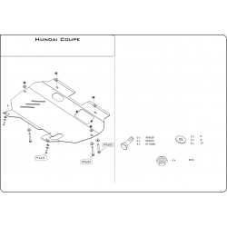 Hyundai Coupé (cover under the engine and gearbox) 2.0, 2.7 - Metal sheet