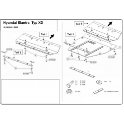 Hyundai Elantra (cover under the engine and gearbox) 1.6, 1.8, 2.0 - Metal sheet