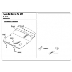Hyundai Santa FÉ (cover under the engine and gearbox) - Metal sheet