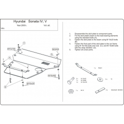 Hyundai Sonata IV / V (cover under the engine and gearbox) - Metal sheet