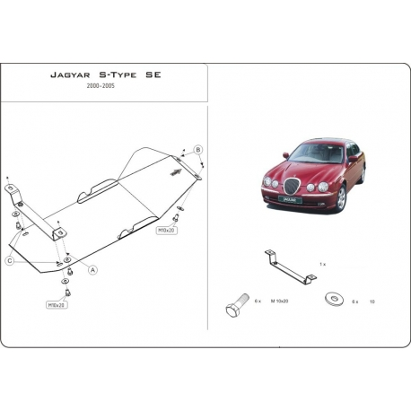 Jaguar S-Type SE (Cover the manual transmission) 2.5, 2.7D, 3.0, 4.0, 4.2 - Metal sheet