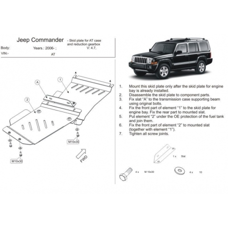 Jeep Commander (cover under the gearbox) petrol only - Metal sheet
