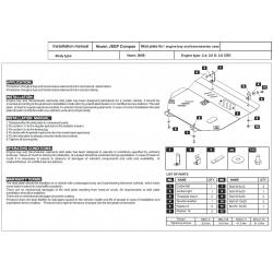 Jeep Compass Kryt pod motor a převodovku 2.0 CRD, 2.4 - Plech