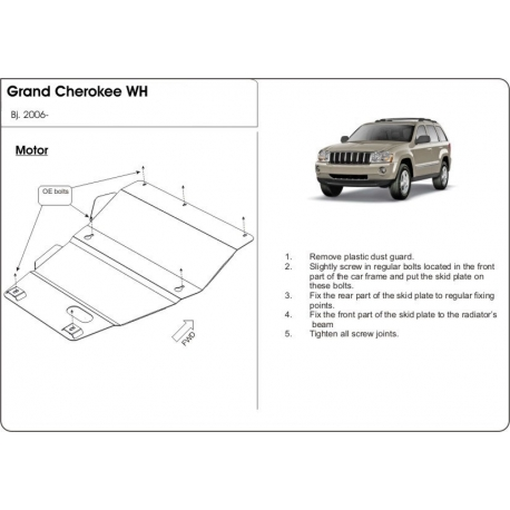 Jeep Grand Cherokee (cover under the engine) - Metal sheet