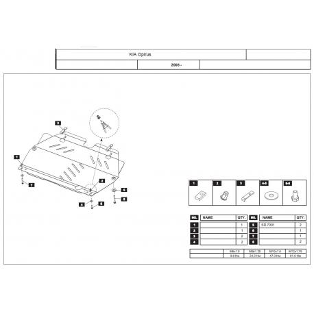 KIA Opirus Kryt pod motor a převodovku 3.8 - Plech