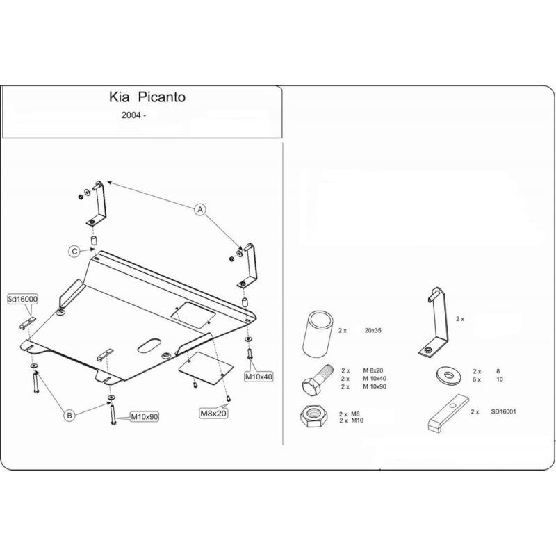 KIA Picanto cover under the engine and gearbox 10 11 11D – Kia Picanto Engine Diagram