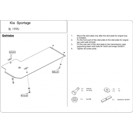 KIA Sportage Europe (cover under the gearbox) - Metal sheet