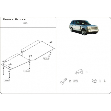 Range Rover / Supercharged (cover under the gearbox) 4.2 Kompressor, 4.4l V8 - Aluminium