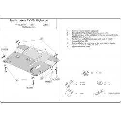 Lexus RX 300 / 330 / 350 / 400h (cover under the engine and gearbox) 3.0, 3.5, 4.0h, 4.0h (FWD) - Metal sheet