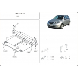 Mazda 2 (cover under the engine and gearbox) 1.3, 1.4, 1.6 - Metal sheet
