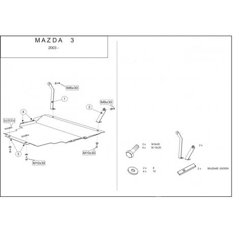 Mazda 3 Kryt pod motor a převodovku 1.4, 1.6 - Hliník