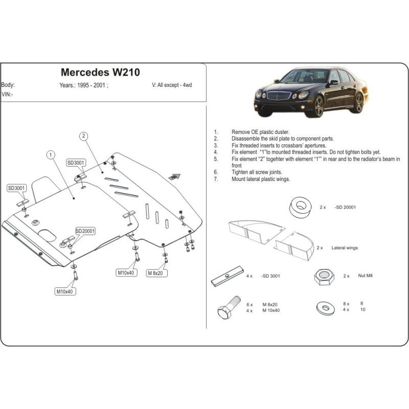 Mercedes-Benz E-Klasse (cover under the engine) 2.0 - 4.2, 2.2D ...