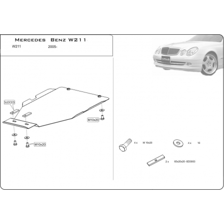 Mercedes-Benz E-Klasse (Cover the automatic transmission) 3.2, 2.8CDI 4WD - Metal sheet