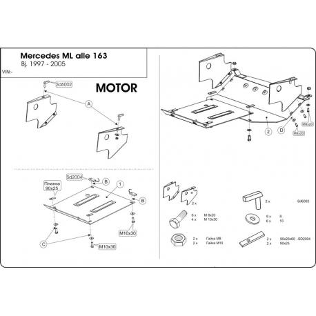 Mercedes-Benz M-Klasse (cover under the engine) - Metal sheet