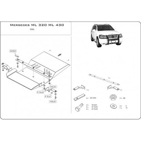 Mercedes-Benz M-Klasse (cover under the gearbox) 3.2, 3.5, 4.0CDI, 4.3, 5.0, 5.5 AMG - Metal sheet