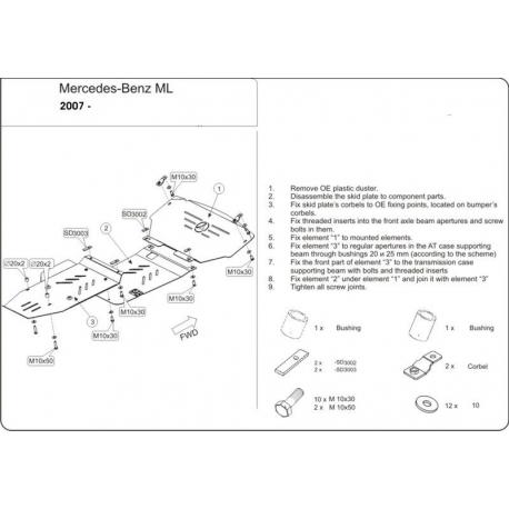 Mercedes-Benz M-Klasse (cover under the engine and gearbox) 2.8 CDI, 3.0 CDI, 3.2 CDI - Aluminium