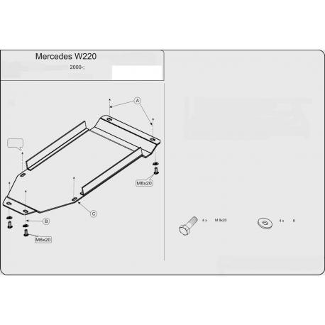 Mercedes-Benz S-Klasse (Cover the automatic transmission) 3.2 - Metal sheet