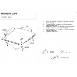 Mitsubishi L 200 (cover under the gearbox) - Metal sheet