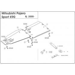 Mitsubishi Pajero Sport (cover under the gearbox) 2.5 TD, 3.0 - Aluminium