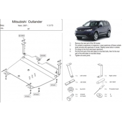 Mitsubishi Outlander (cover under the engine and gearbox) 2.0TD - Aluminium