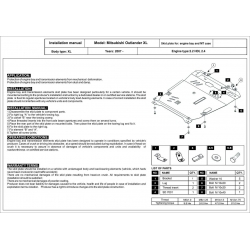 Mitsubishi Outlander (cover under the engine and gearbox) 2.2Di-D, 2.4 - Metal sheet