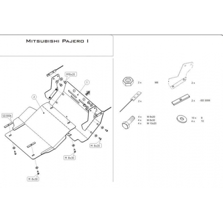 Mitsubishi Pajero I (cover under the engine) 2.3 TD, 2.5 TD, 2.6, 3.0 V6 - Metal sheet