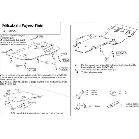 Mitsubishi Pajero Pinin (cover under the engine and gearbox) - Aluminium