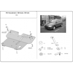 Mitsubishi Space Star (cover under the engine and gearbox) 1.3, 1.6 - Metal sheet