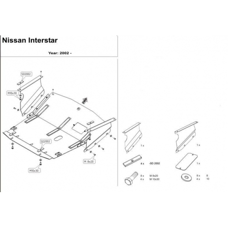 Nissan Interstar Kryt pod motor a převodovku - Plech