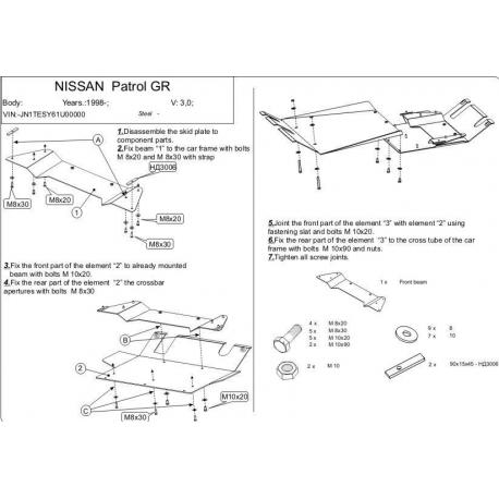 Nissan Patrol GR II 5-doors (cover under the gearbox) 3.0, 3.0 DTi - Aluminium