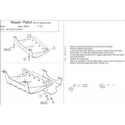 Nissan Patrol GR II s výřezem pro tažné (steering cover) 3.0 TD, 4.8 - Metal sheet