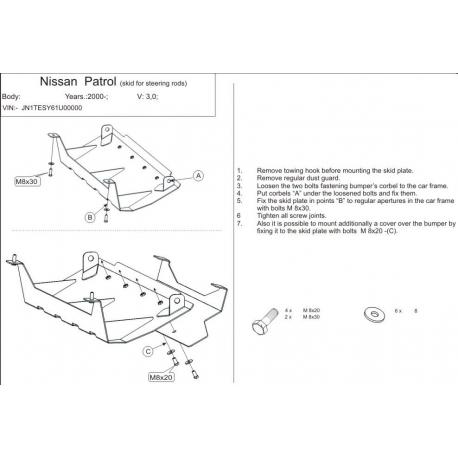 Nissan Patrol GR II s výřezem pro tažné (steering cover) 3.0 TD, 4.8 - Aluminium