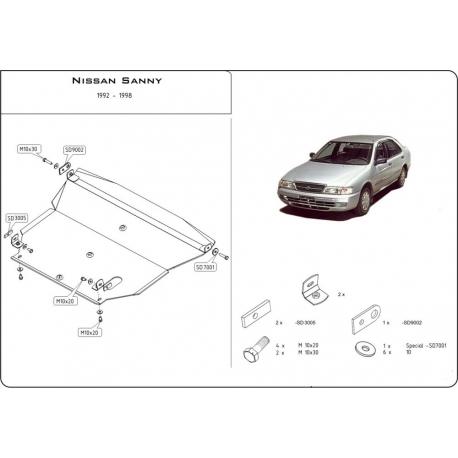 Nissan Sunny Kryt pod motor a převodovku 1.6, 2.0D - Plech