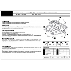 Opel Astra G (cover under the engine and gearbox) - Metal sheet