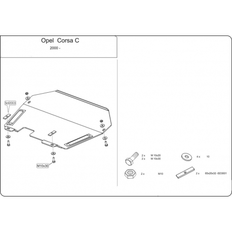Opel Corsa C (cover under the engine and gearbox) 1.0, 1.2, 1.4 - Metal sheet