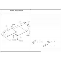 Opel Frontera A Kryt pod motor a převodovku 2.0i, 2.2i, 2.5 TD, 2.8 TD - Plech