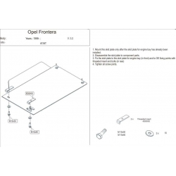 Opel Frontera B (cover under the gearbox) - Metal sheet