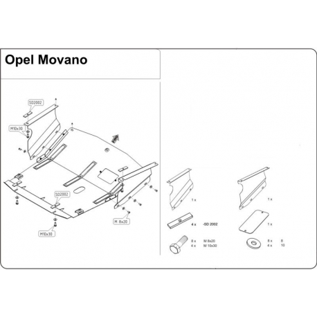 Opel Movano (cover under the engine and gearbox) - Metal sheet