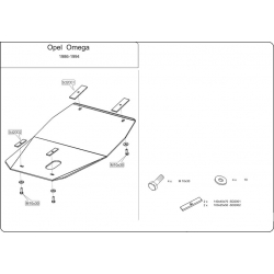 Opel Omega A (cover under the engine) - Metal sheet