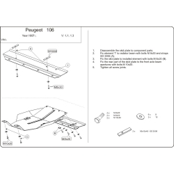 Peugeot 106 (cover under the engine and gearbox) 1.0, 1.1, 1.3, 1.4 - Metal sheet