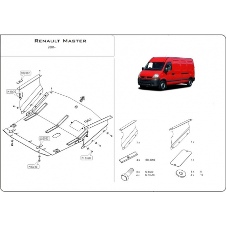 Renault Master I (cover under the engine and gearbox) - Metal sheet