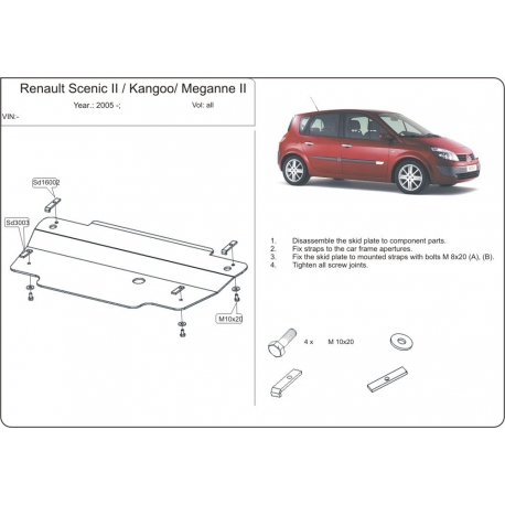 Renault Megane II Scenic (cover under the engine and gearbox) expect Diz - Metal sheet
