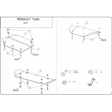 Renault Trafic I (cover under the engine and gearbox) - Metal sheet