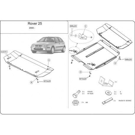 Rover 25 (cover under the engine and gearbox) 1.4, 1.6, 1.8 - Metal sheet