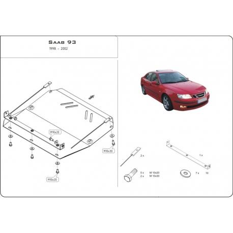 Saab 9-3 Motor und Getriebeschutz 2.0, 2.2TD, 2.3 - Stahl